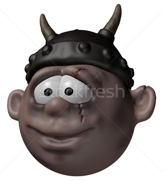 Vikingo carácter casco 3D Cartoon ilustración Foto stock © drizzd