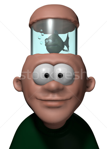 аквариум человека голову 3D Cartoon иллюстрация Сток-фото © drizzd