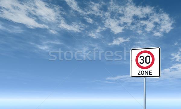 тридцать дорожный знак облачный Blue Sky 3d иллюстрации небе Сток-фото © drizzd
