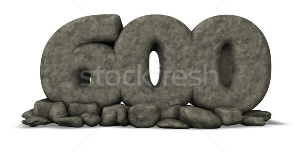 stone number six hundred on white background - 3d rendering Stock photo © drizzd