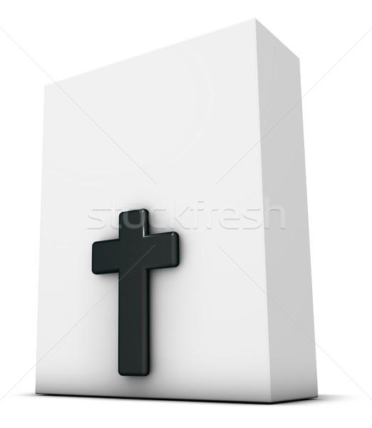 Christian krzyż biały polu 3D Zdjęcia stock © drizzd