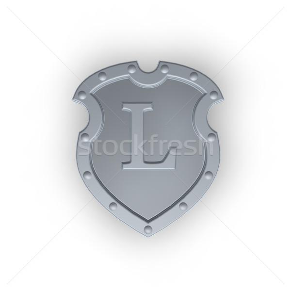 Schild letter l metaal witte 3d illustration frame Stockfoto © drizzd