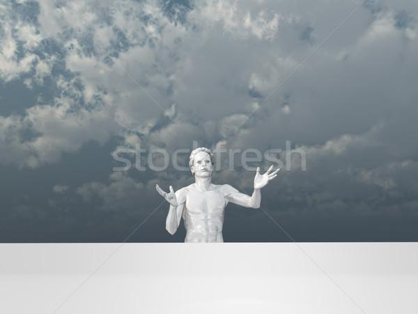 Pantomima biały ludzi człowiek rysunku duży Zdjęcia stock © drizzd
