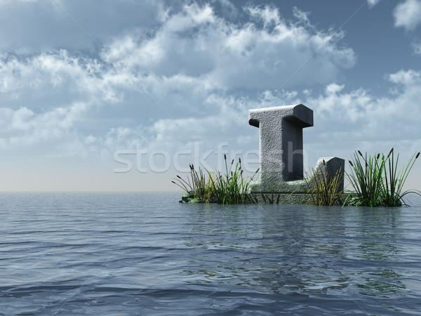 Letter l water landschap 3d illustration wolken natuur Stockfoto © drizzd