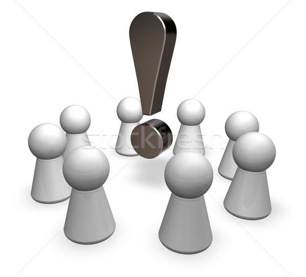 Cerchio giocare punto esclamativo illustrazione 3d riunione idea Foto d'archivio © drizzd