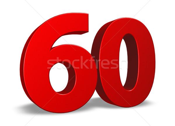 Aantal zestig Rood witte 3d illustration verjaardag Stockfoto © drizzd