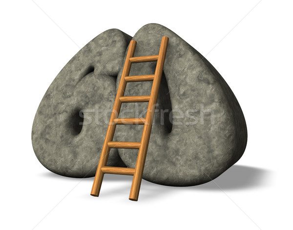 Numara altmış merdiven taş 3d illustration tırmanmak Stok fotoğraf © drizzd