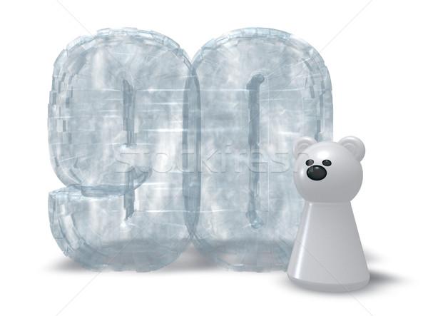 Jég szám jegesmedve fagyott 3d illusztráció születésnap Stock fotó © drizzd