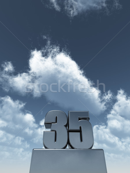 Stok fotoğraf: Otuz · beş · Metal · bulutlu · mavi · gökyüzü · 3d · illustration