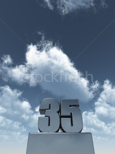 Dertig vijf metaal bewolkt blauwe hemel 3d illustration Stockfoto © drizzd