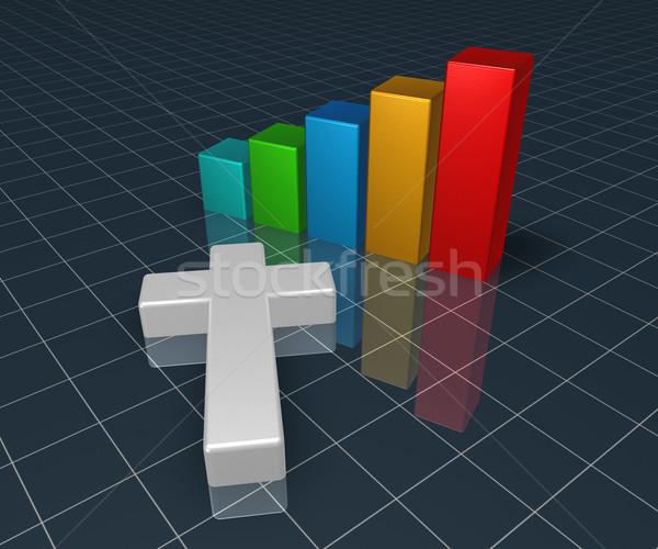 бизнес-графика христианской крест 3D Сток-фото © drizzd