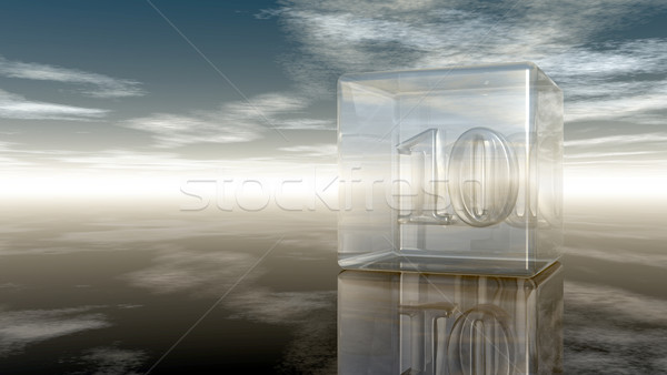 number ten in glass cube under cloudy sky - 3d rendering Stock photo © drizzd