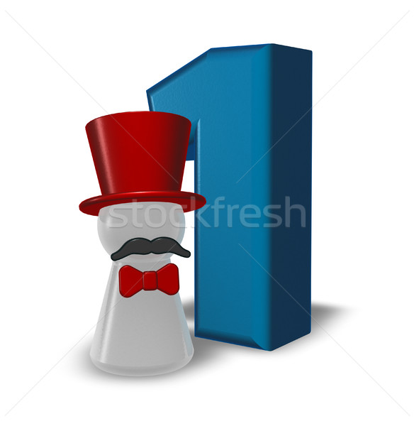 number one and pawn with hat and beard - 3d rendering Stock photo © drizzd