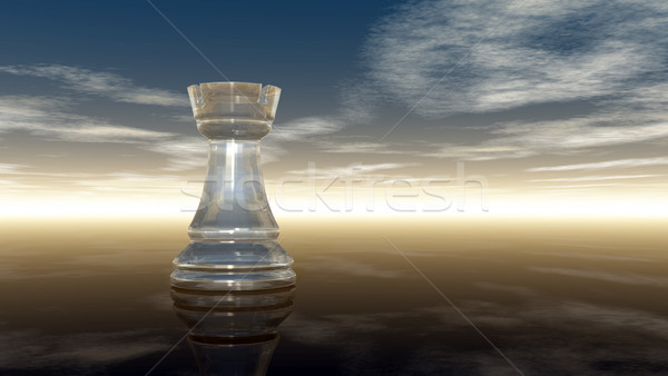glass chess rook under cloudy sky - 3d rendering Stock photo © drizzd