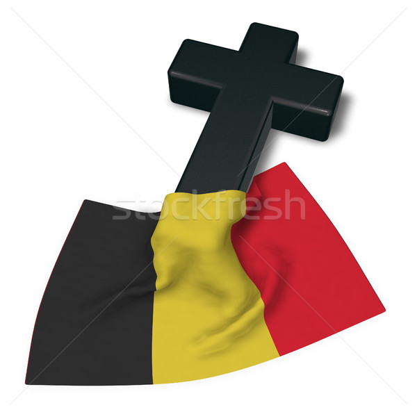 христианской крест флаг Бельгия 3D Сток-фото © drizzd