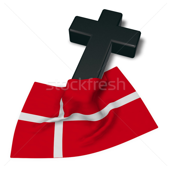 christian cross and flag of denmark - 3d rendering Stock photo © drizzd