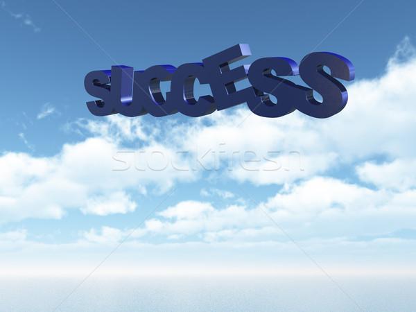 Succes tekst hemel 3d illustration water werk Stockfoto © drizzd
