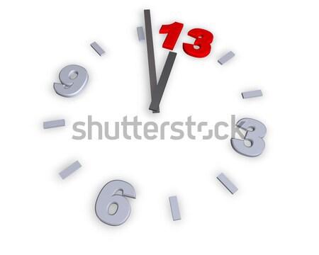 Numero 13 clock illustrazione 3d sfondo rosso Foto d'archivio © drizzd