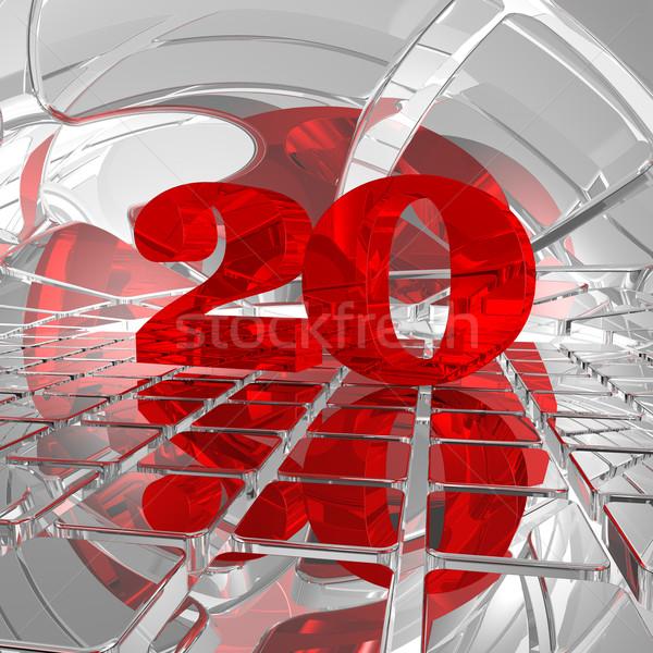 Foto stock: Vinte · vermelho · número · cromo · azulejos · ilustração · 3d