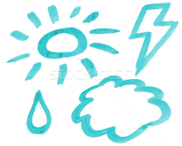 Hava durumu el boyalı semboller beyaz 3d illustration Stok fotoğraf © drizzd