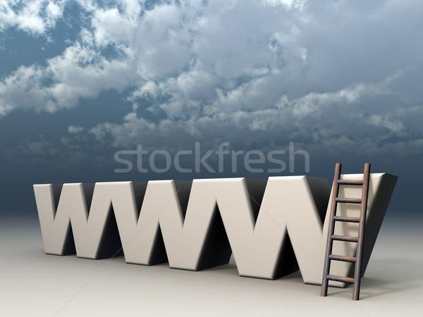 Www harfler merdiven bulutlu gökyüzü 3d illustration Stok fotoğraf © drizzd
