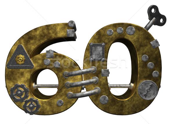 Numara altmış steampunk beyaz 3d illustration finanse Stok fotoğraf © drizzd