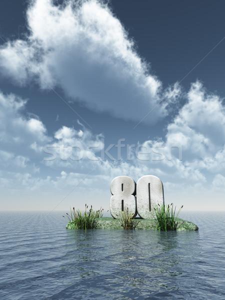Número oitenta oceano ilustração 3d natureza mar Foto stock © drizzd
