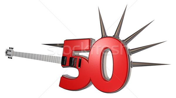 Szám ötven gitár fehér 3d illusztráció fém Stock fotó © drizzd