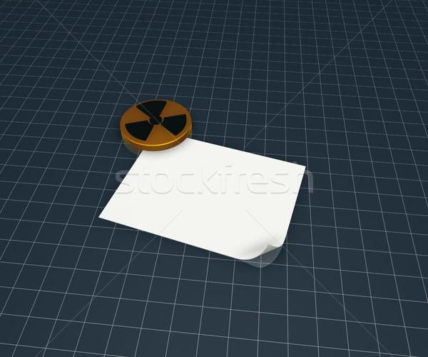 Jądrowej symbol kawałek papieru 3d ilustracji technologii Zdjęcia stock © drizzd