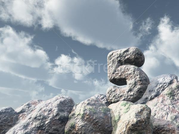 Stock fotó: Szám · öt · kő · felhős · kék · ég · 3d · illusztráció