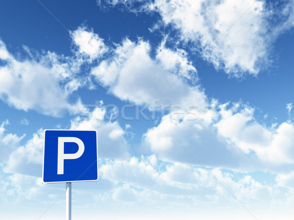 Parking permis nuageux ciel bleu 3d illustration Photo stock © drizzd
