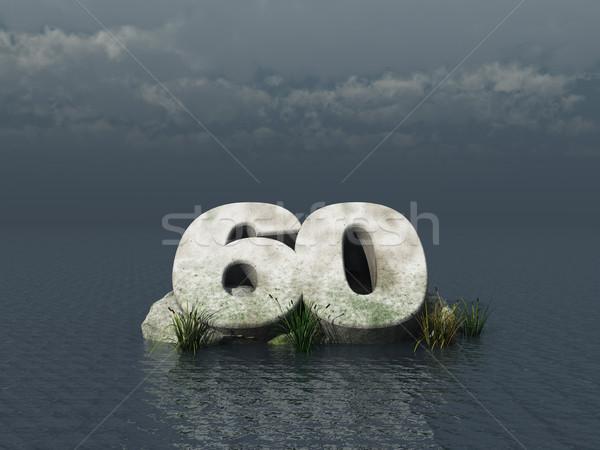 Zestig aantal oceaan 3d illustration natuur landschap Stockfoto © drizzd