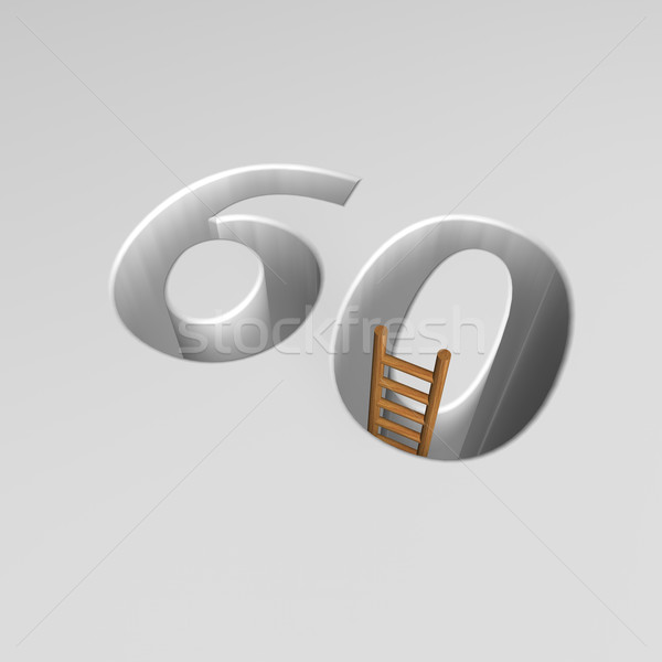 number sixty and ladder - 3d rendering Stock photo © drizzd