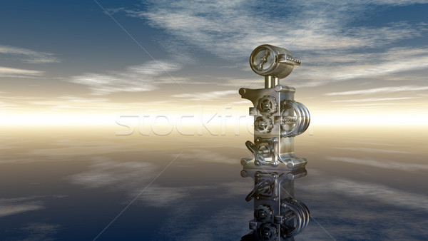 machine letter i under cloudy sky - 3d rendering Stock photo © drizzd