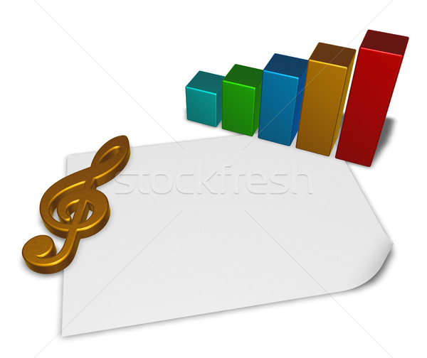 clef symbol and business graph on blank white paper sheet - 3d rendering Stock photo © drizzd