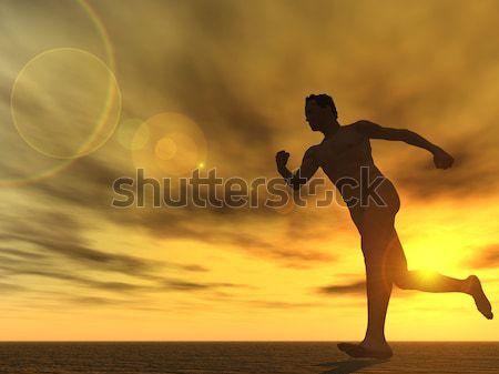 Correr corredor pôr do sol ilustração 3d esportes trem Foto stock © drizzd
