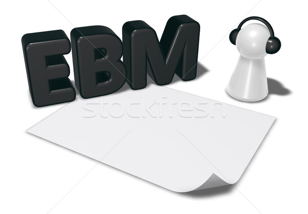 ebm tag, blank white paper sheet and pawn with headphones - 3d rendering Stock photo © drizzd