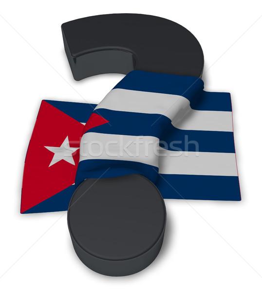 вопросительный знак флаг Куба 3d иллюстрации знак помочь Сток-фото © drizzd