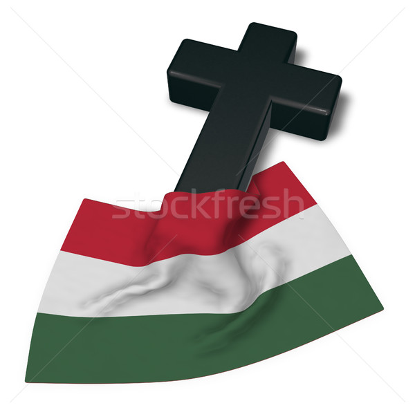 christian cross and flag of hungary - 3d rendering Stock photo © drizzd