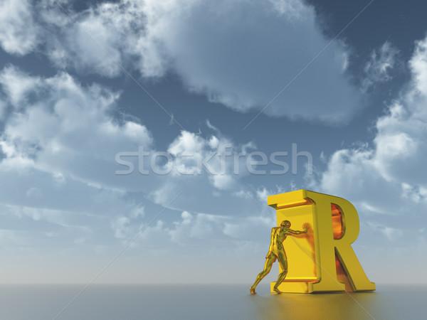Stock fotó: Férfi · arany · alkat · r · betű · felhős · kék · ég