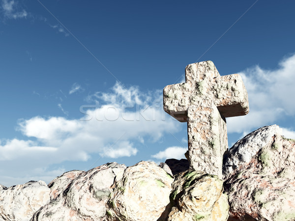 stone cross under cloudy sky - 3d illustration Stock photo © drizzd