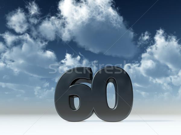 Zestig aantal 60 blauwe hemel 3d illustration partij Stockfoto © drizzd