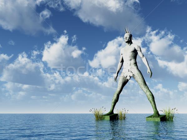 Punk ocean 3d ilustracji wody człowiek morza Zdjęcia stock © drizzd