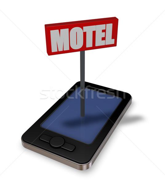 Motel smartphone teken 3d illustration telefoon weg Stockfoto © drizzd