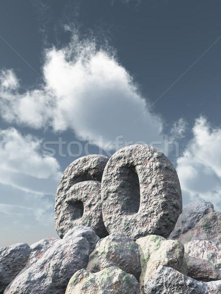 Aantal zestig rock bewolkt blauwe hemel 3d illustration Stockfoto © drizzd