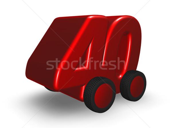 Numer czterdzieści drogowego koła 3d ilustracji samochodu Zdjęcia stock © drizzd