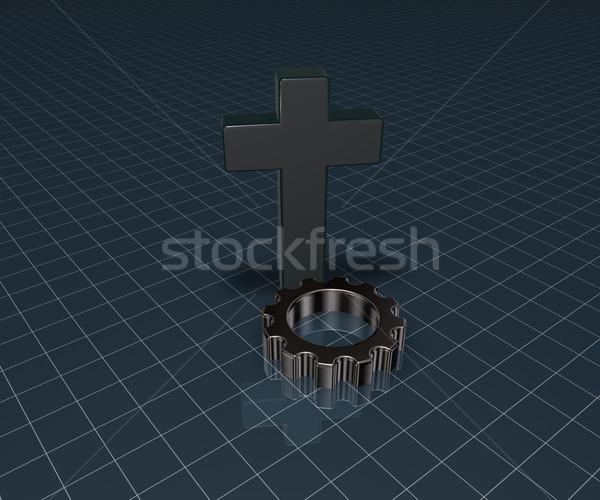 クリスチャン クロス ギア ホイール 3D レンダリング ストックフォト © drizzd