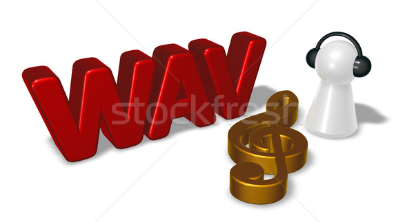 wav tag, clef symbol and pawn with headphones - 3d rendering Stock photo © drizzd