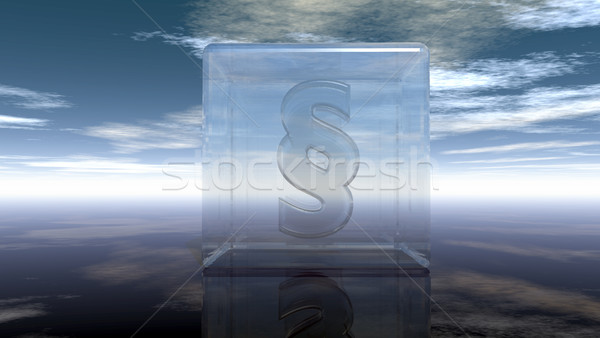 paragraph symbol in glass cube under cloudy sky - 3d rendering Stock photo © drizzd
