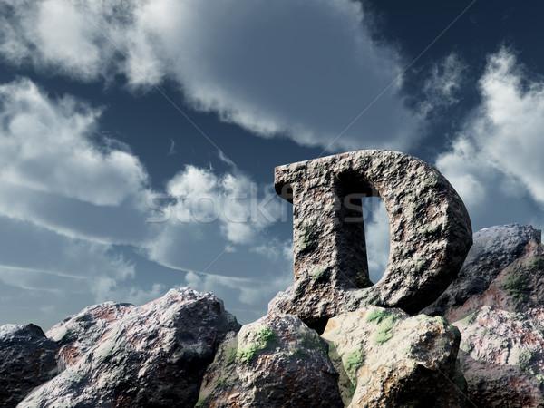 D betű kő kék ég 3d illusztráció felhők Stock fotó © drizzd